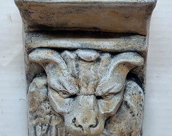 Dog Faced Gryphon Shelf 6.5 in. (16 cm)  Gothic Medieval Gargoyle Stone Sculpture wall plaque avtechstonegallery casting
