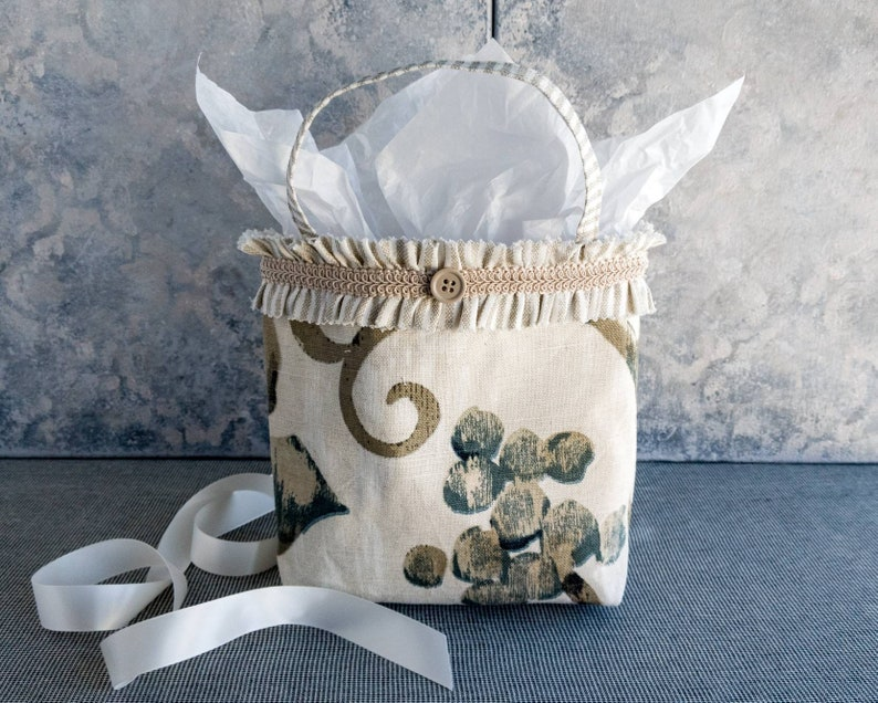 Tan and Green Small Project Bag Nature Lovers Gift Bag Natural Color Reusable Fabric Tote Coworker Birthday Present Treat Bag