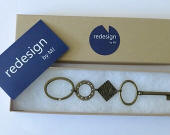 Bohemian key chain. Handmade key chain. Long key chain.