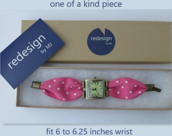 Pink polka dot band wrist watch for women. One of a kind watch. Square watch. Aged bronze watch.
