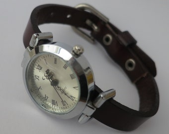Simple women's watch. Leather watch for women. Vintage style watch for women. RedesignMJ