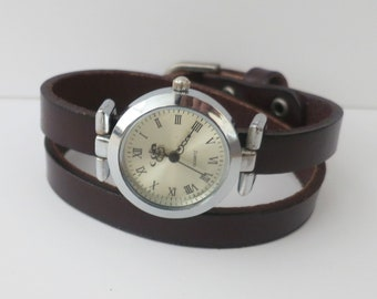 Wrap leather wrist watch for women. Women's watch leather band two times wrap band watch. Silvered finish watch for women with leather band.