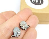 Hand painted recycled wood whale earrings, nickel free and in stainless steel, ethical jewel made of scrap wood