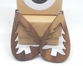 U.S Walnut wood earrings, handmade, nickel free and in stainless steel, ethical jewel in recycled wood