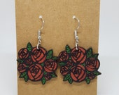 Wood earrings represented red rose flowers, handmade, nickel free and in stainless steel, ethical jewel in recycled wood