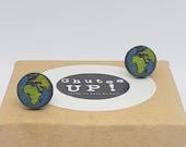 Planet earth earrings, eco-friendly jewelry, nickel free, Studs Studs, stainless steel, wooden jewelry, wooden earrings