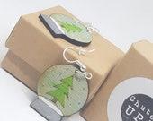 Recycled wood earrings / pendants for christmas / nickel free / Dangle earrings / handmade / stainless steel