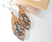 Wooden dangling earrings, handmade, nickel free in stainless steel, ethical recycled wood jewelry, gift idea, beech arabesque jewelry
