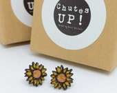 Sunflower earrings hand painted, eco-friendly jewelry, nickel free, Studs, stainless steel, wooden jewelry, flower earrings