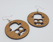 Dandy dandy earrings in beech, handmade and laser, nickel free in stainless steel, ethical jewelry recycled wood, gift idea, round jewelry