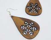 Dangle earrings in walnut, handmade and laser, nickel free in stainless steel, ethical jewelry recycled wood, gift idea, flake jewelry