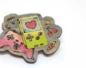 Geek badge video games game console recycled wooden joystick laser cut hand painted, upcycled wooden badge for nerds