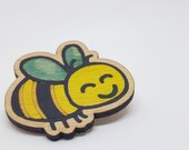 Cute bee brooch in recycled wood laser cut hand painted, upcycled wooden badge for nature lovers wooden bee