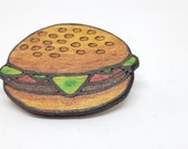 Burger pin in recycled wood laser cut hand painted, upcycled wooden badge for gourmets miniature food hamburger
