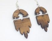 U.S walnut dangling earrings, handmade, nickel free in stainless steel, ethical jewelry recycled wood, gift idea, geometric jewelry