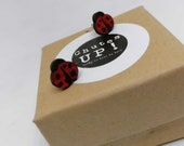 Cute ladybugs earrings in recycled wood, nickel-free pushpieces and in stainless steel, ethical jewel made with scrap wood