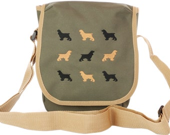 Dog Breed silhouette embroidered cross body original design bags for women