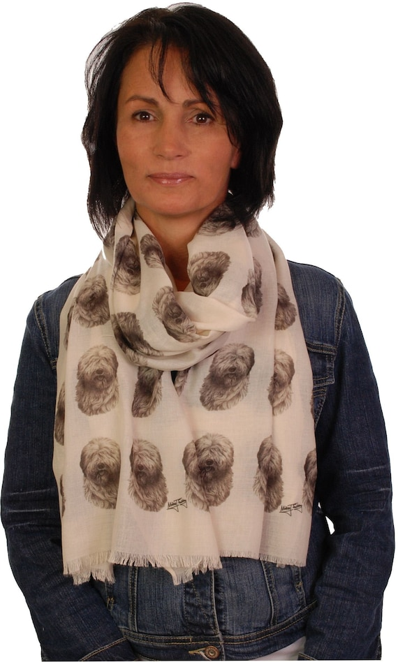 Old English Sheepdog scarf dog print scarves printed ladies fashion womens shawl