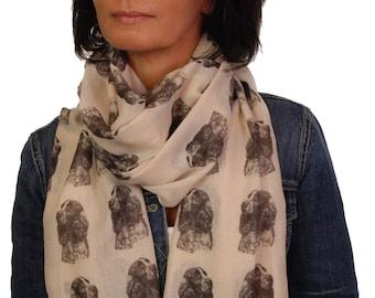 English Springer Spaniel scarf with dog design - Springer Spaniel gifts, Springer Spaniel print, scarf in a box, scarf dog print, scarf gift