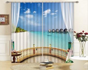 AJ Wallpaper 3D Large Photo Curtain 3D Lavender With Castle C408 Blockout Photo Curtain Print Curtains Drapes Fabric Window