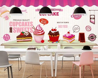 3D Cakes Fruits GNGN189 Wallpaper Mural Decal Mural Photo Sticker Decal Wall Self-Adhesive Wall Art Design 3d printed Removable Wallpaper