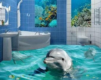 3D River Stone F696 Floor Wallpaper Murals Self-Adhesive Removable Kitchen Bath Floor Waterproof  floor Rug Mat Print Epoxy AJ WALLPAPER