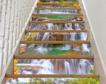 3D Waterfalls 211 Stair Risers Decoration Photo Mural Vinyl Decal Wallpaper AU