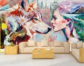 Wolf Mountain 3D Wall Art Sticker Mural Decal Home Office Decor FP4