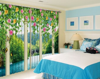 3D Flowers With Trees C170 Blockout Photo Curtain Print Curtains Drapes Fabric Window AJ Wallpaper 3D Large Photo Curtain