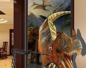 Q048w Dinosaur Sunset Silhouette   Window Wall Decal 3D Art Stickers Vinyl Room