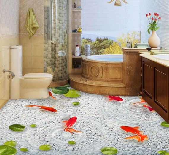 3D Goldfish F189 Floor Wallpaper Murals Self-Adhesive Removable Kitchen Bath Floor Waterproof  floor Rug Mat Print Epoxy AJ WALLPAPER