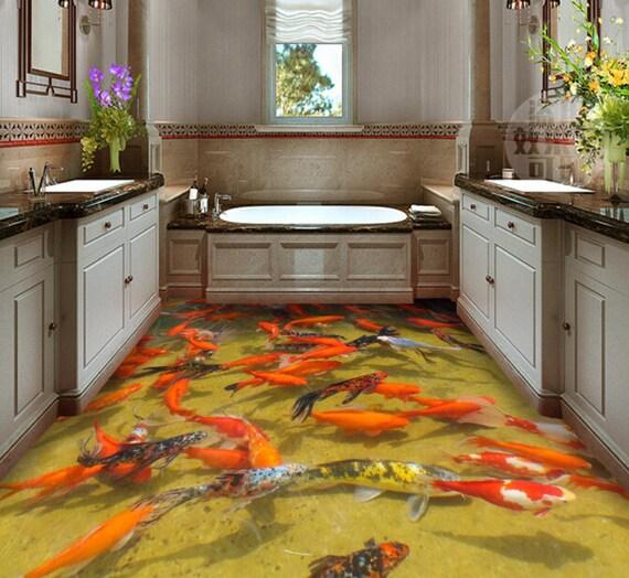 3D Goldfish And Maple Leaf 6431 Floor Wallpaper Murals Self-Adhesive Removable Kitchen Bath Floor Waterproof floor Rug Mat Print Epoxy YOYO