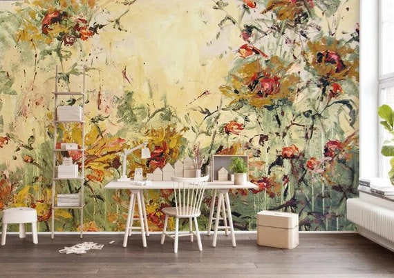 3D Flowers Painting GN808 Wallpaper Mural Decal Mural Photo Sticker Decal Wall Self-Adhesive Wall Art Design 3d printed Removable Wallpaper