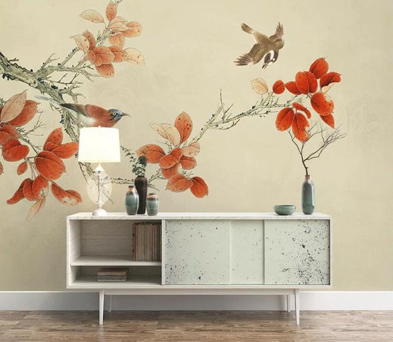3D Red Leaves GNGN505 Wallpaper Mural Decal Mural Photo Sticker Decal Wall Self-Adhesive Wall Art Design 3d printed Removable Wallpaper