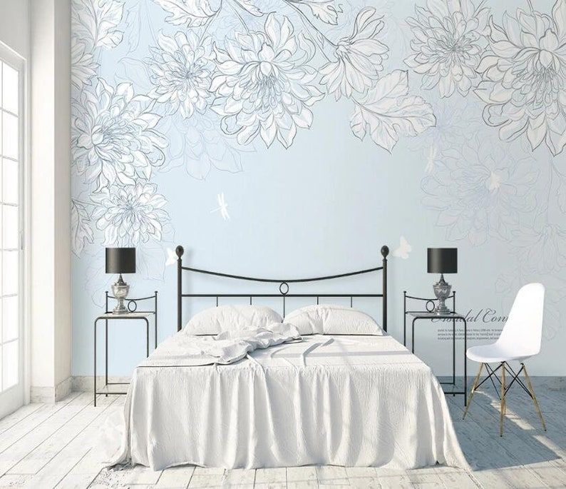 3D Flower Painting GNGN722 Wallpaper Mural Decal Mural Photo Sticker Decal Wall Self-Adhesive Wall Art Design 3d printed Removable Wallpaper