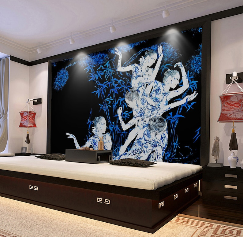 3D Bamboo Dancers GN046 Wallpaper Mural Decal Mural Photo Sticker Decal Wall Self-Adhesive Wall Art Design 3d printed Removable Wallpaper