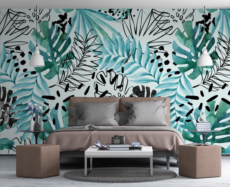 3D Banana Leaves GN596 Wallpaper Mural Decal Mural Photo Sticker Decal Wall Self-Adhesive Wall Art Design 3d printed Removable Wallpaper