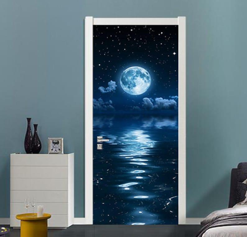 Self-Adhesive 3D Door Wall Mural 3D Moonlight D76 Door Wall Mural Photo Wall Sticker Decal Wall AJ Wallpaper US Lemon
