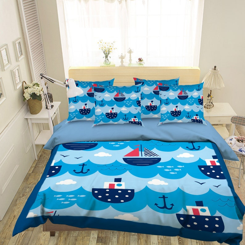3D Blue Ship MM86 Duvet Cover Bedding Set Quilt Cover Quilt image 0