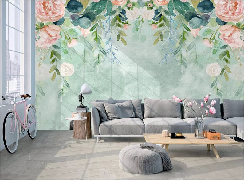 3D Blooming Flowers GN1214 Wallpaper Mural Decal Mural Photo Sticker Decal Wall Self-Adhesive Wall Art Design 3d printed Removable Wallpaper