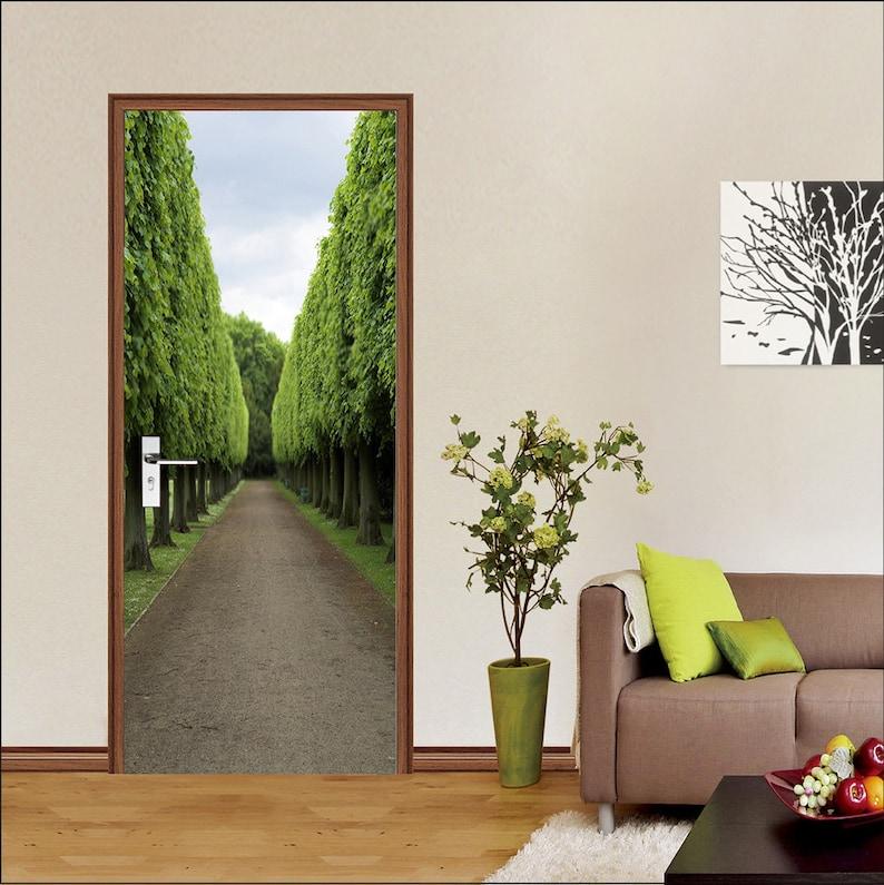 Self-Adhesive 3D Door Wall Mural 3D Tree Road D356 Door Wall Mural Photo Wall Sticker Decal Wall AJ Wallpaper US Lemon
