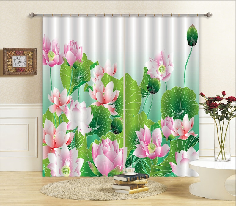 AJ Wallpaper 3D Lotus With Leaves C391 Blockout Photo Curtain Print Curtains Drapes Fabric Window 3D Large Photo Curtain