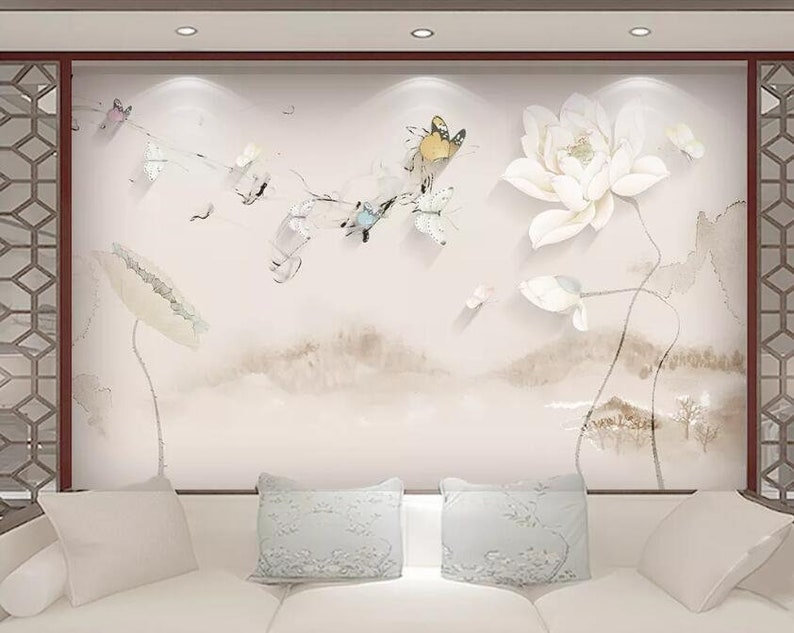 3D Butterfly Lotus GNGN187 Wallpaper Mural Decal Mural Photo Sticker Decal Wall Self-Adhesive Wall Art Design 3d printed Removable Wallpaper