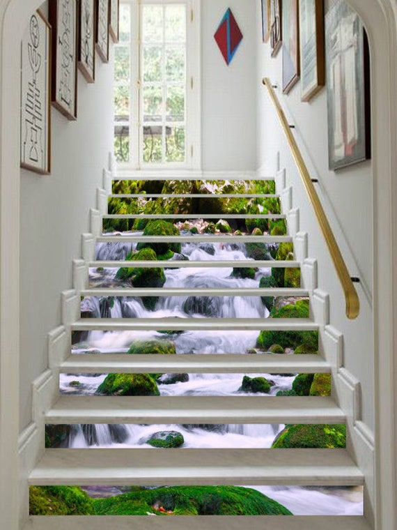 3D Waterfall Forest SS603 Pattern Tile Marble Stair Risers Decoration Photo Self-adhesive Mural Vinyl Decal Wallpaper Murals Wallpaper Mural