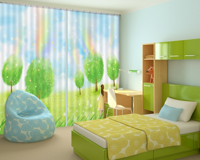 3D Large Photo Curtain 3D Green Trees and Grass CC185 Blockout Photo Curtain Print Curtains Drapes Fabric Window AJ Wallpaper