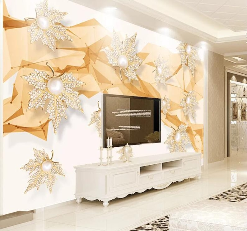3D Maple Leaves GNGN107 Wallpaper Mural Decal Mural Photo Sticker Decal Wall Self-Adhesive Wall Art Design 3d printed Removable Wallpaper