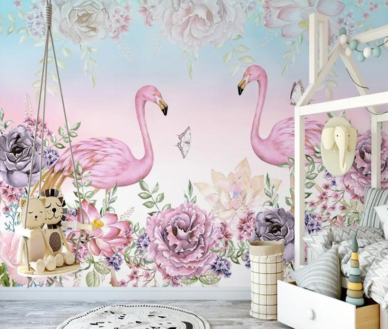 3D Pink Flamingos GN1222 Wallpaper Mural Decal Mural Photo Sticker Decal Wall Self-Adhesive Wall Art Design 3d printed Removable Wallpaper