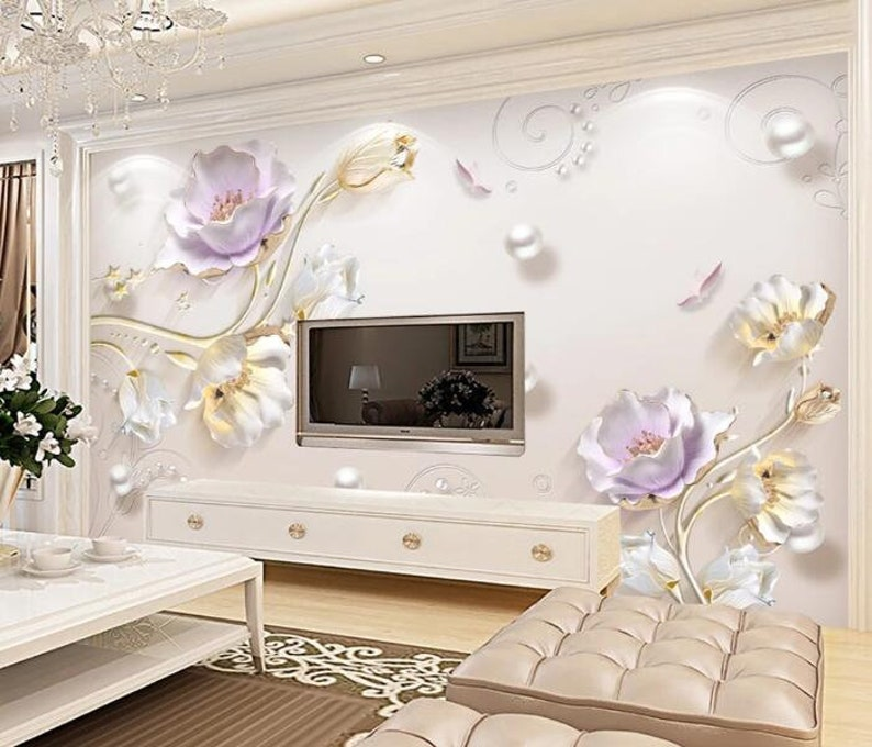3D Pearl Flowers GNGN174 Wallpaper Mural Decal Mural Photo Sticker Decal Wall Self-Adhesive Wall Art Design 3d printed Removable Wallpaper