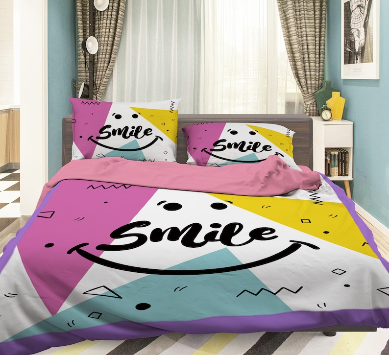 3D Smile Face MM85 Duvet Cover Bedding Set Quilt Cover Quilt image 0