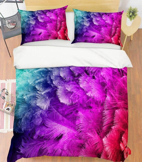 Pink Feathers 3D Quilt Duvet Doona Cover Set Single Double Queen King Print